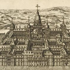 Overhead view of large castle with gardens and grounds; nearby town names [Spain] ... (1664). NYPL Art and Architecture Collection.