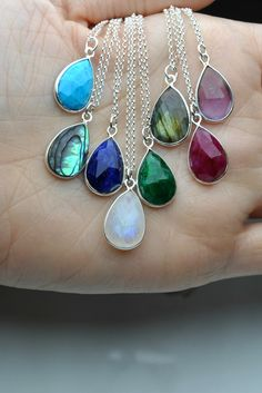 Excited to share the latest addition to my #etsy shop: Gemstone Necklace for WomenTurquoise/Abalone/sapphire/moonstone/emerald/labradorite/ruby/amethyst. Who wouldn't want them all?! #jewelry #necklace #teardrop #women #boho #gemstonenecklace #gemstonependant #dropnecklace #stonependant
