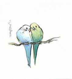 Two Birds on a Branch Original Painting by JennyDavisArt on Etsy