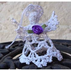 Crochet angel, Christmas ornament, small tree topper, baptism gift,... (€4,70) via Polyvore featuring home, home decor, holiday decorations, angel christmas ornaments, purple christmas ornaments, first christmas ornament, holiday door decorations and white christmas ornaments