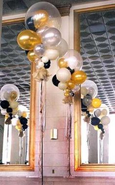 These floating crystal bubble decorations in gold, silver, clear, black and white balloons can serve as elegant table centerpieces or free s. 50th Party, 30th Birthday Parties, Anniversary Parties, 90 Birthday, Clear Balloons, White Balloons, Black And Gold Balloons, Black Gold Party, Black White Gold