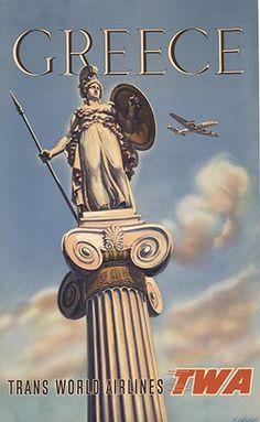 Vintage travel poster of Greece by Artist Almaliction  #kitsakis