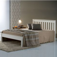Colorado White Pine Bed Frame - - A new superb quality wooden bed frame with a white painted finish. Not a cheap wooden bed frame, it is a very good quality wooden bed frame! Chunky and substantial with excellent quality finish and attention to detail. Cheap Wooden Bed Frames, 4ft Beds, White Wooden Bed, Wooden Beds, Wooden Slats, Wooden Furniture, Pine Bed Frame, Bed Centre, Pine Beds