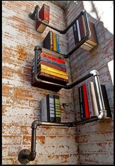 Totally making this pipe corner bookcase.