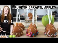MINI DRUNKEN CARAMEL APPLES Green Apple Caramel Vodka Lollipop Sticks Caramel Squares Splash of Heavy Whipping Cream Chopped Nuts Sprinkles Colored Chocolate Chips PREPARATION 1. Use a melon baller, to scoop small balls out of an apple. Place them in a shot glass and fill with caramel vodka. Let them sit for a few hours. 2. Insert a lollipop stick in the soaked apple balls and dip them in a melted caramel/Heavy cream mix. 3. Dip the caramel apples in a topping of your choice, and a...