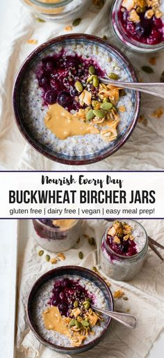 Buckwheat Bircher Breakfast Jars. Made with whole buckwheat groats, chia, flax and coconut, a healthy easy breakfast perfect for meal prep! #glutenfree and can be kept #dairyfree and #vegan as well. YUM! #breakfastjars #mealprep #buckwheat #bircher