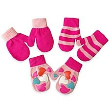image of Toby™ Infant 3-Pack Heart Graphic Gripper Mittens in Pink