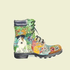 Urban walking boot illustration, watercolour illustration by Daniel Mackie by Daniel Mackie Illustration, via Flickr