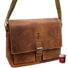 Great gift for boyfriend. Elegant vintage shoulder bag/laptop bag made of brown leather – a unique product by Ledertaschenshop24 via en.DaWanda.com