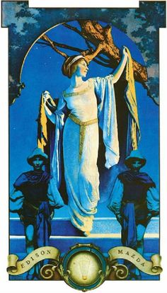 Spirit of the Night by Maxfield Parrish, 1919, from the Edison Mazda calendar advertising Edison Mazda lamps