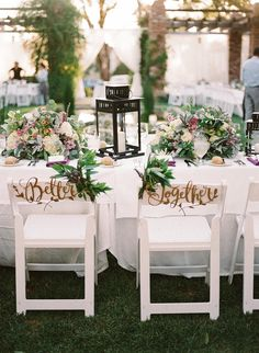 We hope you're ready to see how incredibly romantic this purple and white wedding turned out at the Belmond El Encanto in Santa Barbara, CA. The setting to their special day included family style tables with gorgeous floral and lantern centerpieces all ne Wedding Bells, Wedding Flowers, Linen Company, Lantern Centerpieces, Table Set Up, Bridal Salon, Sweetheart Table, Bridal Lace, Here Comes The Bride