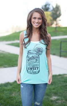 The Pink Lily Boutique - Southern Girl Sweet Tea Tank , $25.00 (http://thepinklilyboutique.com/southern-girl-sweet-tea-tank/)