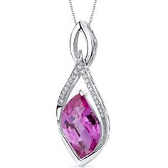 Luminous 12.00 carats Leaf Cut Sterling Silver Rhodium Finish Created Pink Sapphire Pendant available at joyfulcrown.com