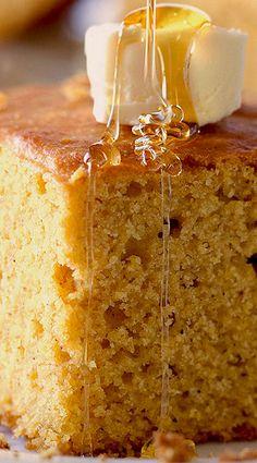Pumpkin Cornbread | deliciouslyyum.com |  pumpkin desserts, recipes, breakfast