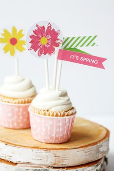Today we're sharing some Spring party flags that coordinate with the adorable Bloom banner we shared yesterday. We show them here on cupcakes, but they would also be great to use on muffins or sand...