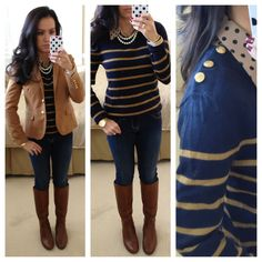 Striped sweater with gold buttons, polka dot top, blazer, denim jeans, double strand pearl necklace, bracelets and cognac boots.   // Click the following link to see outfit details and photos:  http://www.stylishpetite.com/2013/01/ruffles-pink-and-navy.html
