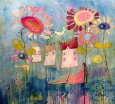 house cleaning, husvask, Galleri M,malerier av Marit Bergem
