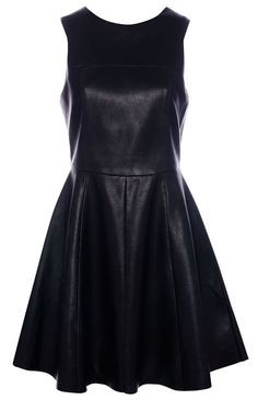 :FAKE LEATHER DRESS WITH FULL SKIRT