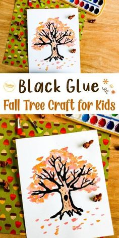 Try this creative craft from Sunshine Whispers! Using black glue, paint, and paper, you can create this fall art! Kids will love this fall tree craft. #craft #falltree #treecrafts #kidcrafts #fall #fallcraft