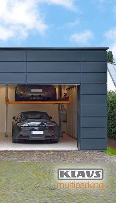 Garage Lift, Small Garage, Modern Garage, Garage Shop, Car Garage, Home Car Lift, Car Stacker, Garage Plans With Loft, Garage Door Windows