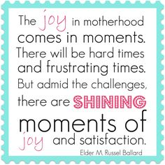 Joy in motherhood.