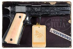 EXTREMELY RARE ENGRAVED COLT PRE-WAR GOVERNMENT MODEL 38 SUPER MATCH SEMI-AUTO PISTOL.