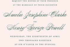 """Hepburn"" - Elegant, Classical Wedding Invitations in Rose by toast & laurel."