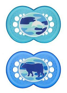MAM Camo Baby Silicone Pacifiers, 16 Plus Months, 2 Count, New, Free Shipping
