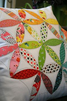 "I've finished up my pillow for the Pillow Talk swap! Someone needs to get ready for a rather large pillow cover... it's fit for a 24"" square pillow.  I used the wonderful Joseph's Coat Quilt Along tutorial from the www.dontlooknow.typepad.com blogged here"