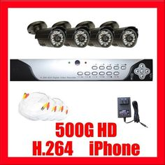 "Complete Outdoor Surveillance Security System Package - 4 420TVL Outdoor Security Cameras and 4 Channel DVR Security Camera System by Gw. $475.00. Package includes:  GW9104V - 4 channel network DVR with 500G HD; CD with manual and software;  4 x GW646 -1/4"" SONY CCD  Camera; 1 x GW125CAW: 125 feet pre-made cable BNC; 1 x GW100CAW: 100 feet pre-made cable BNC;   2 x GW60CAW: 60 feet pre-made cable BNC; 1 x GW12V2A:12V2A Power Supply for Security Cameras; 1 x GW124CA..."