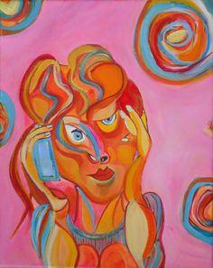 schilderij met thma goed nieuws gesprek by AteliervanBiesbergen, $250,00