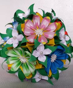 3D origami Flower Ball by akvees on Etsy