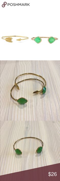 Stella & Dot Bangle Set Stella & Dot Bangle Set. Comes with Gold & Green Glass Cuff and Open Arrow Cuff. Each worn a few times, excellent condition. Stella & Dot Jewelry Bracelets