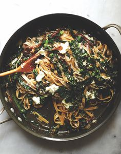 Fettuccini With Kale, Caramelized Onions and Goat Cheese