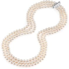 """Zales 6.0 - 6.5mm Cultured Freshwater Pearl Three Strand Necklace with Sterling Silver Clasp - 19"""""""