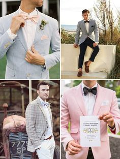 Love the top right corner outfit!  Stylish Summer Groom Ideas - Blazers | www.onefabday.com