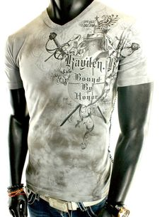 NEW MENS WASHED GRAY STITCHED CROSS UFC MMA WINGS ROYAL CLUB V-NECK T-SHIRT | eBay