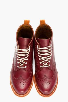 DR. MARTENS Burgundy Leather Bentley Wingtip Brogue Boots