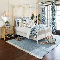 Our Stephanie Cane Canopy Queen Bed is beautifully designed to change with your space and needs. Testers and posters remove easily, so you can adapt the look from canopy or poster bed to a traditional head and footboard. Coastal Bedrooms, Romantic Bedrooms, Beautiful Bedrooms, Natural Bedding, Bedroom Photos, Home Decor Shops, Quilt Bedding, Bedding Sets, Ballard Designs