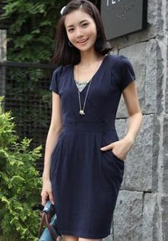 Korean Elegant Lady V Neck Plus Size Dress    Color: Black/Blue/Grey   Size: XL/XXL/XXXL