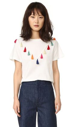 ENGLISH FACTORY Short Sleeve Tassel T Shirt   SHOPBOP