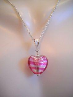"#Pink #Silver #DichroicGlass #Glass #Heart #925Silver #925Sterling 925SterlingSilver #Sterling #Silver #SterlingSilver Necklace #Pendant 3.7g 16"""