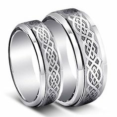 His & Her's 8MM/6MM Tungsten Carbide Wedding Band Ring Set w/Laser Etched Celtic Design (Available Sizes 4-14 Including Half Sizes) Please e-mail sizes Tungsten Ring Set. $29.99. The customs associated with the Claddagh ring were originated in the Irish fishing village of Claddagh Designs are older then 17th century.. Width: 8MM for Him & Width: 6MM for Her. Genuine Tungsten Carbide (Cobalt Free) Beware of Imitated Replicas. Men & Ladies 8MM/6MM Tungsten Carbi...