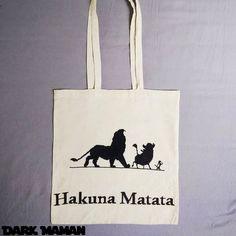 Tote bag Hakuna Matata  point de croix cross stitch  le roi lion the lion king