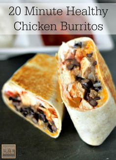 20 Minute Healthy Chicken Burrito With Large Flour Tortillas, Boneless Skinless Chicken Breasts, Black Beans, Yellow Onion, Chili Powder, Cumin, Cooking Spray, Mexican Cheese Blend, Salsa, Sour Cream