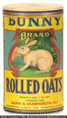 cardboard oats box for Bunny brand (Bunn & Humphreys, Bloomington and Springfield, Illinois). Sold at: Wm Morford Antiques Looking to Buy or Sell? Vintage Bottles, Vintage Tins, Vintage Labels, Vintage Metal, Vintage Kitchen, Vintage Antiques, Vintage Pantry, Vintage Enamelware, Vintage Stuff