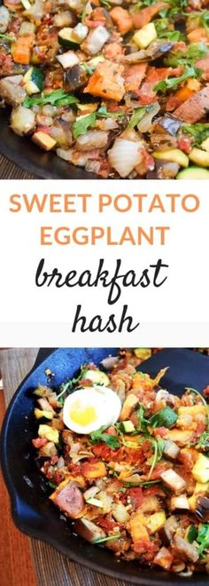 This Sweet Potato Eggplant Hash is a great way to add vegetables into your morning routine, or have as a side to any entree. Dress it up with eggs or bacon, or enjoy as is! #breakfasthash #sweetpotatoes #eggplant #breakfastrecipes