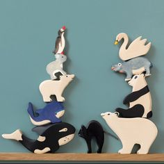 Animaux en bois : Ours, panda, baleine, pingouin, cygne, orque et hippopotame
