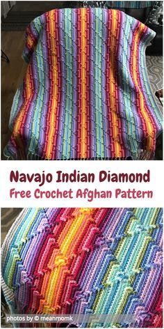 Navajo Indian Diamond Afghan made so-called diamond stitch. #crochetafghan #diamondafghan #crochetpatternsfree