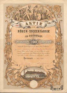 A2080 Muzeum cennych papiru / Rüben-Zuckerfabrik in Reichstadt 200 Gulden, Reichstadt 1871 / AZP3CZ164 Retro Vector, Vector Design, Printing Process, Hand Lettering, Bond, Vintage World Maps, Stationery, Typography, Prague